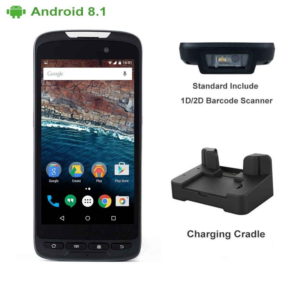 4g tela de toque pda handheld android 8 1 nfc 2d pistola cradle barcode scanner de