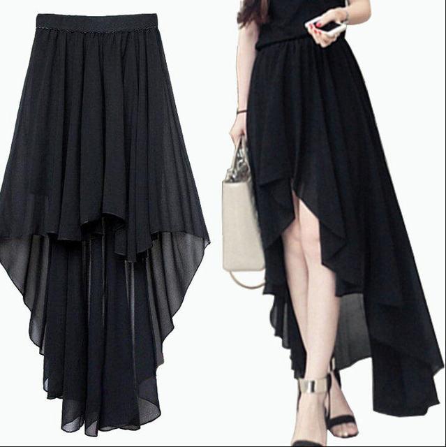 7483247ba3b Summer Plus Size Asymmetrical Skirt A Line Skirt Pattern Long Sheer Skirt  Mermaid Maxi High Low Dovetail Chiffon Skirts Saias
