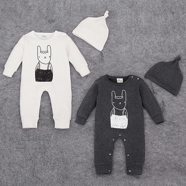 Mameluco del bebé del algodón del bebé recién nacido ropa Mamelucos Lindos de La Historieta con el sombrero del mono del otoño mameluco del bebé de manga larga envío gratis