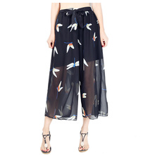 women wide leg pants summer print trousers elastic waist femme chiffon wide leg trousers pantalones mujer cintura alta
