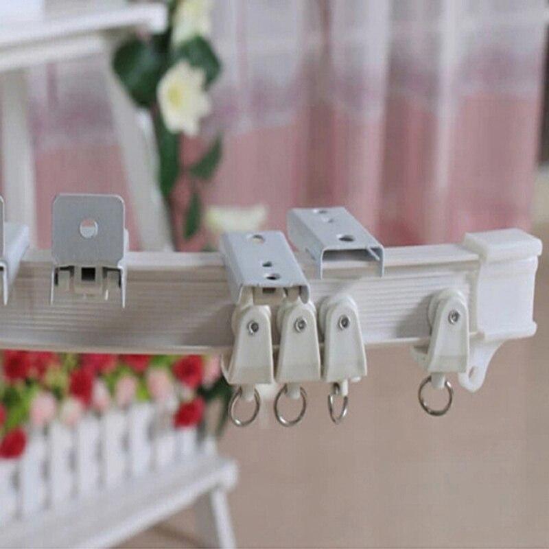 Metal Corded White Aluminium Curtain Track Rail 150cm 500cm Straight Bay Bends