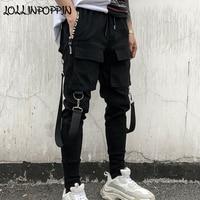 Streetwear Men Black Harem Pants Elastic Waist Punk Pants With Ribbons Street Dance Jogger Pants Hip Hop Trousers Multi Pockets
