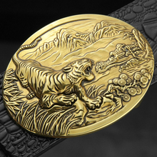 Tiger Zodiac belt gold  buckle men designer fashion leather Metals Alloy cowskin belts for high quality Cinto Masculino