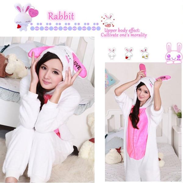 Adult Woman Girls Hot Cosplay Costume LOVE Cartoon Rabbit Onesies Pyjamas Bunny Pajamas Sleepwear Winter Halloween
