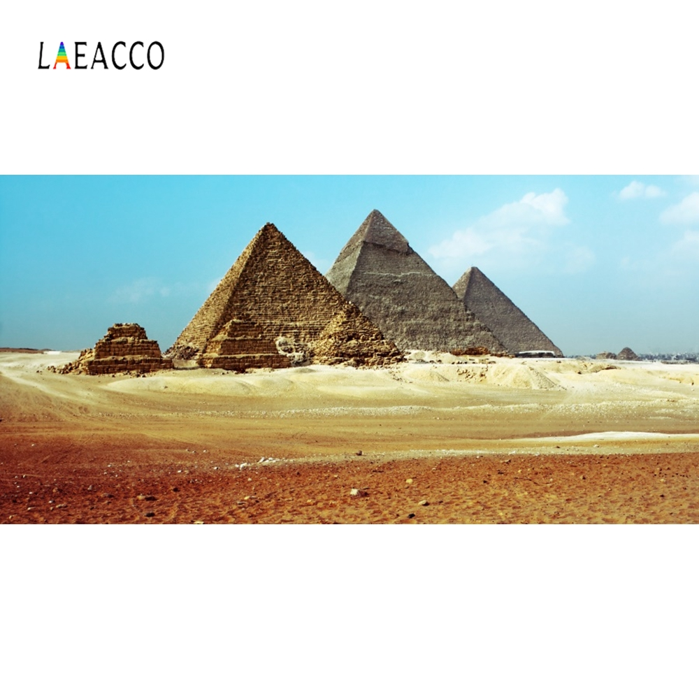 Laeacco Pyramid Blue Sky White Cloud Baby Backdrop Photography Backgrounds Customized Photographic Backdrops For Photo Studio