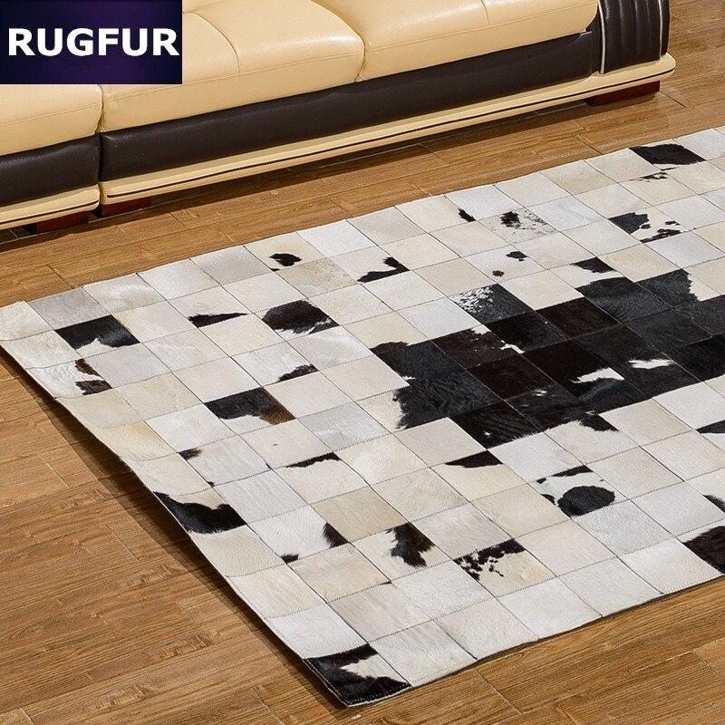 Черный и белый коровы шкуры ручной шить журнальный столик ковер спальни коврики Пользовательские минималистский гостиной диван