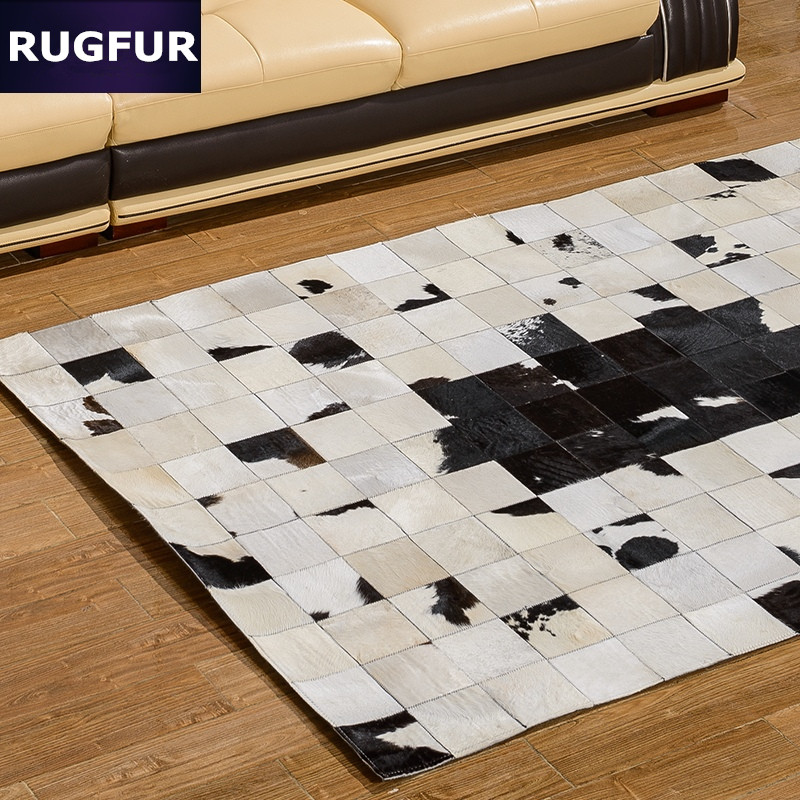 Black And White Floor Rug: Black And White Dairy Cow Skin Rug Hand Stitching Coffee