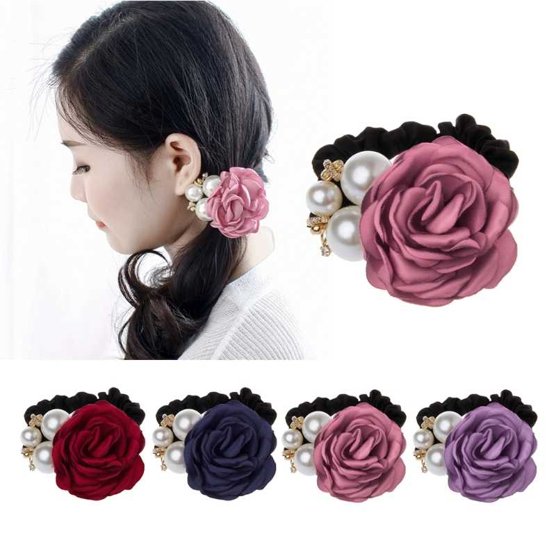 Red Rose Flower Hair Rubber Bands Ponytail Holder Hair Wedding Jewelry women