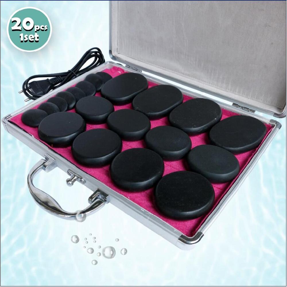 Best selling 20pcs set body Massage stones massage stone set hot stone with heater box ysgyp