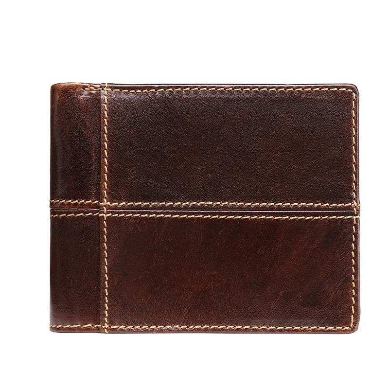 Genuine Cow Leather Men Wallets Multi-Functional Small Walet Coin Pocket Phone Card Holder Male Splice Purse Money bags