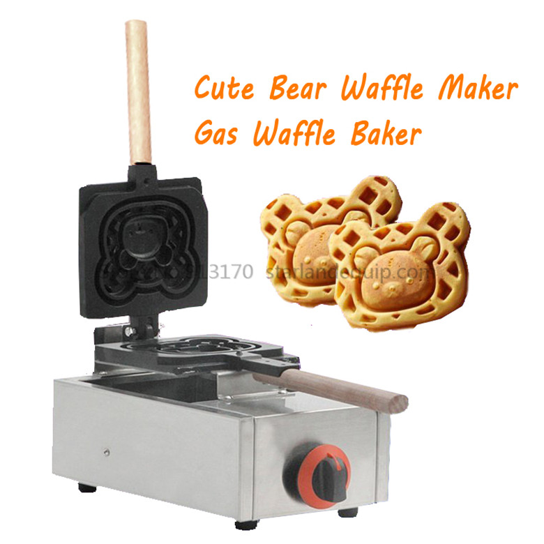 Gas Waffle Maker Cute Bear Waffle Machine Adorable Bear Mould Non-stick Pan Commercial and Household Waffle Making Machine directly factory price commercial electric double head egg waffle maker for round waffle and rectangle waffle