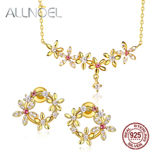 ALLNOEL Pink Tourmaline Gemstone Fine Jewelry Sets For Women Diamond Necklace Earrings 100% Sterling Silver 925 Gold Wedding