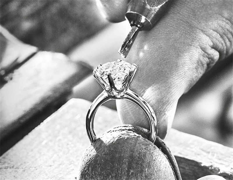 Solitaire ring Echt 925 Sterling silber 1ct AAAAA Sona cz Engagement Hochzeit Band Ringe für frauen Braut Erklärung Partei Schmuck