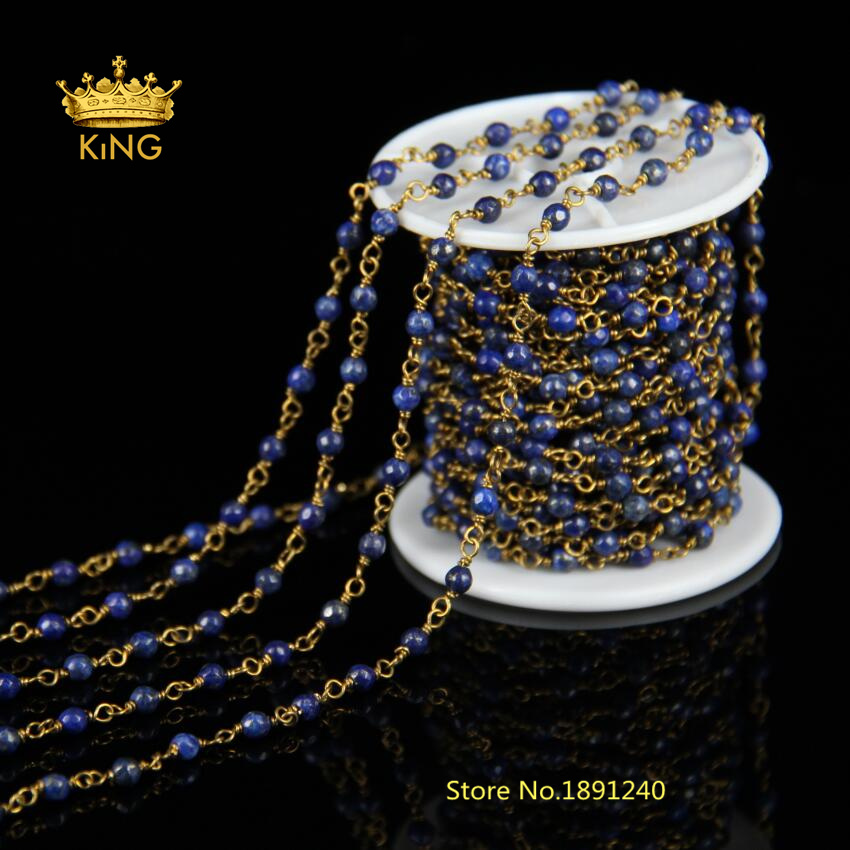 DIY Antique 4mm Faceted Lazuli Lapis Gemstone with Bronze Plating Wire Wrapped Beaded Chain Rosary Chain for Jewelry HX067