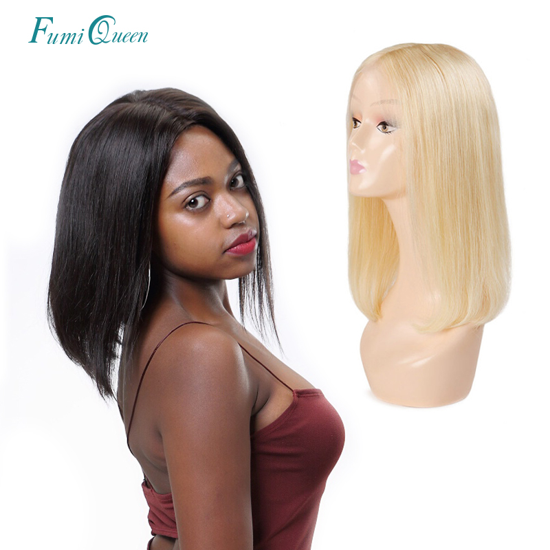 Pre Plucked 13x4 Lace Front Human Hair Wigs Brazilian Straight Remy Hair #1B / #613 Blonde 13x6 Short Bob Wigs Ali FumiQueen Hai(China)