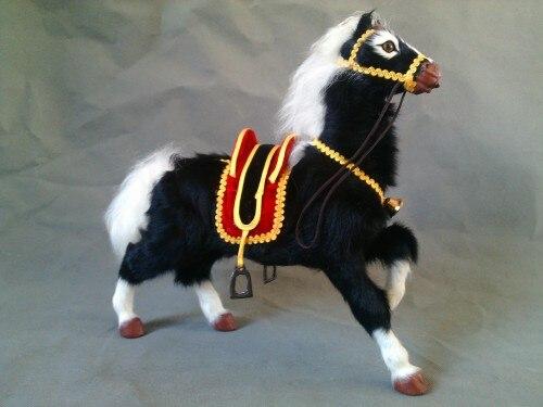 Grand 30x32 cm simulation cloche cheval modèle jouet, polyéthylène & fourrures cheval noir avec selle, prop, décoration de la maison, cadeau de noël 0617
