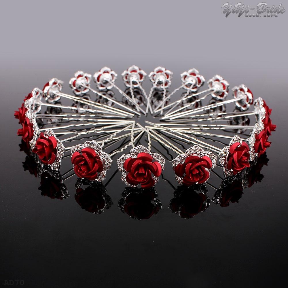 10/20Pcs Wedding Hairpins Crystal Red Rose Rhinestone Hair Pin Clips Women Jewerly Bridal Bridesmaid Hair Accessories