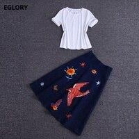 High Quality Women S Set Skirt Summer 2018 Female White Cotton T Shirt Tops Cute Birds