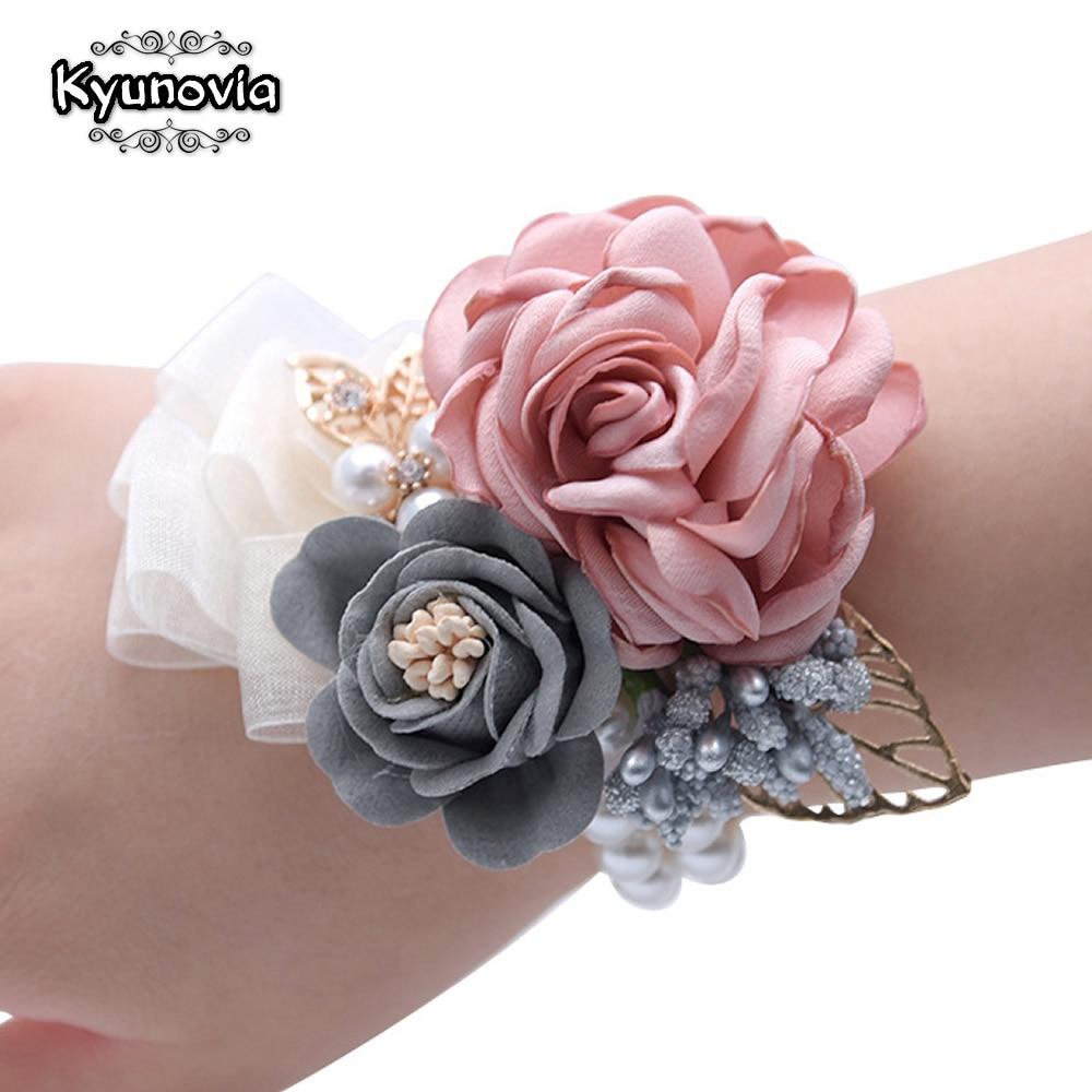 Kyunovia Prom Hand Blumen Rot Best Man Hochzeit Blume Im Knopfloch