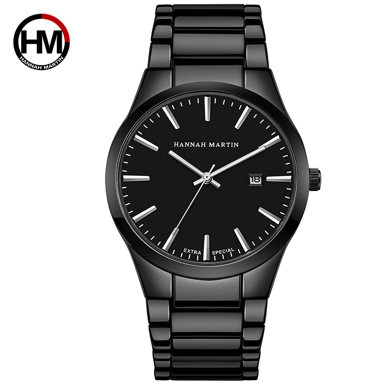 HM 2019 Quartz Stainless Men Watch Date Black Waterproof Analog Fashion Erkek Saat Top Brand Sport Wristwatch Relojes Hombre