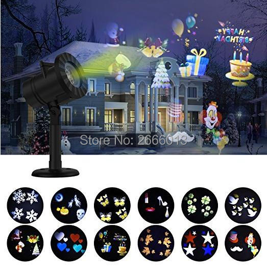 LED Light Projector Waterproof Landscape Spotlight Outdoor and Indoor Lights with 12 Interchangeable Slides for party events ultrathin led flood light 200w ac85 265v waterproof ip65 floodlight spotlight outdoor lighting free shipping