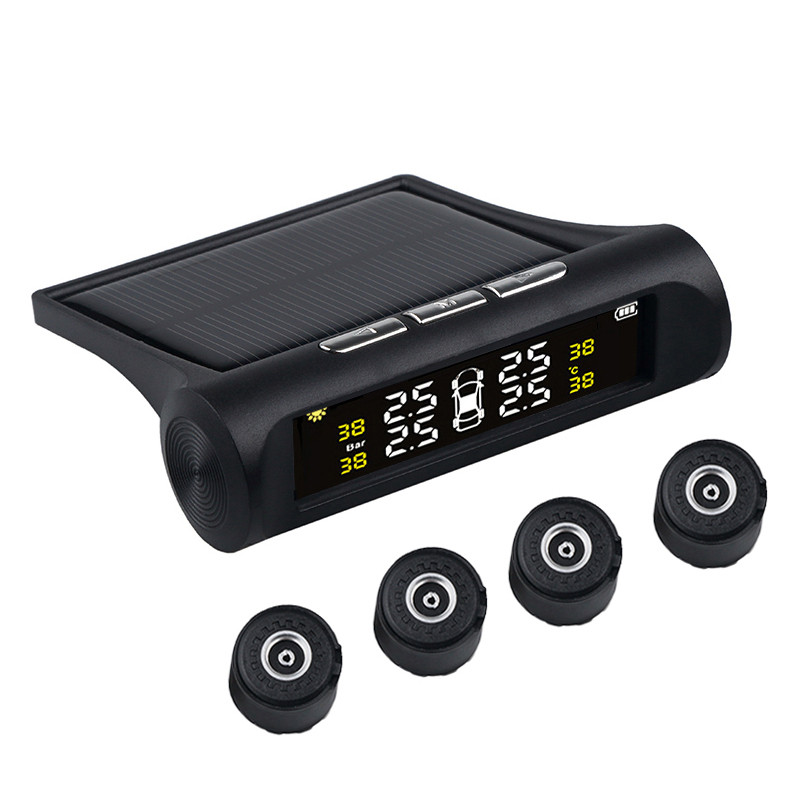 Auto-Alarm-Tool Tire-Pressure-Monitoring-System Lcd-Display Car Tpms Solar-Charging Digital