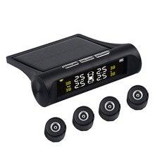 USB veya güneş araba şarjı TPMS lastik basıncı izleme sistemi HD dijital LCD ekran otomatik Alarm aracı kablosuz 4 harici sensör