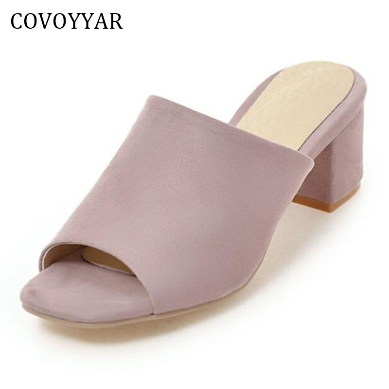 COVOYYAR Concise Slingback Women Mules Sandal 2018 Summer Peep Toe Thick Heel Ladies Slippers Slip On Women Shoes WSS926 huge 220cm 2 2m giant stuffed teddy bear animals kids baby plush toys dolls life size teddy bear girls gifts 2018 new arrival