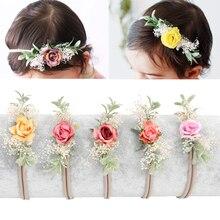 1 шт., детская нейлоновая повязка на голову с розами, ВЕТОЧКА, эластичные мягкие летние аксессуары для волос Детские платья на день рождения для девочек, праздничный подарок