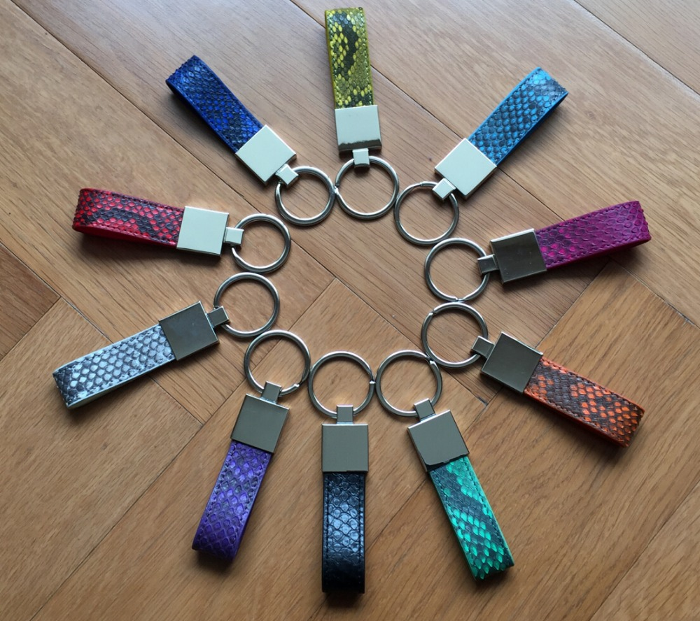Luxury Genuine Python Skin Keychain for Cars Key Doo Keychain Real Python Skin Key Chain