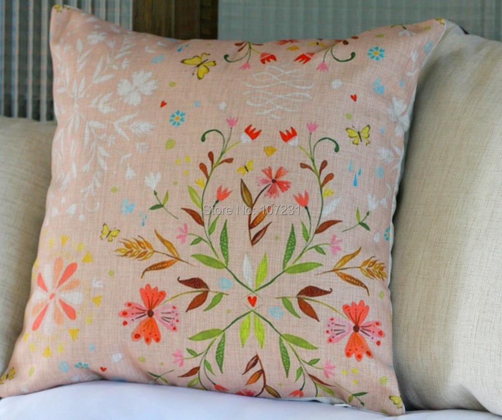 Throw Pillow Covers Linen : Vintage Linen Pillow Cushion Cover Throw decorative cushion covers 45cm*45cm Pink Butterfly ...