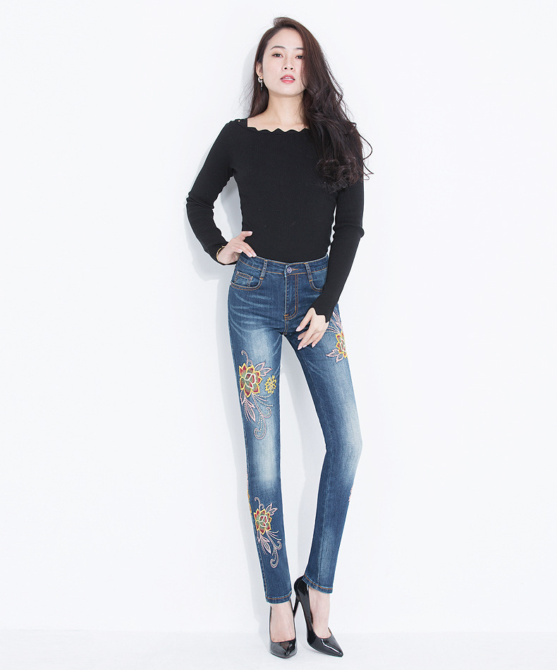 KSTUN FERZIGE Jeans Women High Waisted Pencils Pants Skinny Slim Fit Stretch Light Blue Embroidery Flowers Washed Femme Large Size 36 13