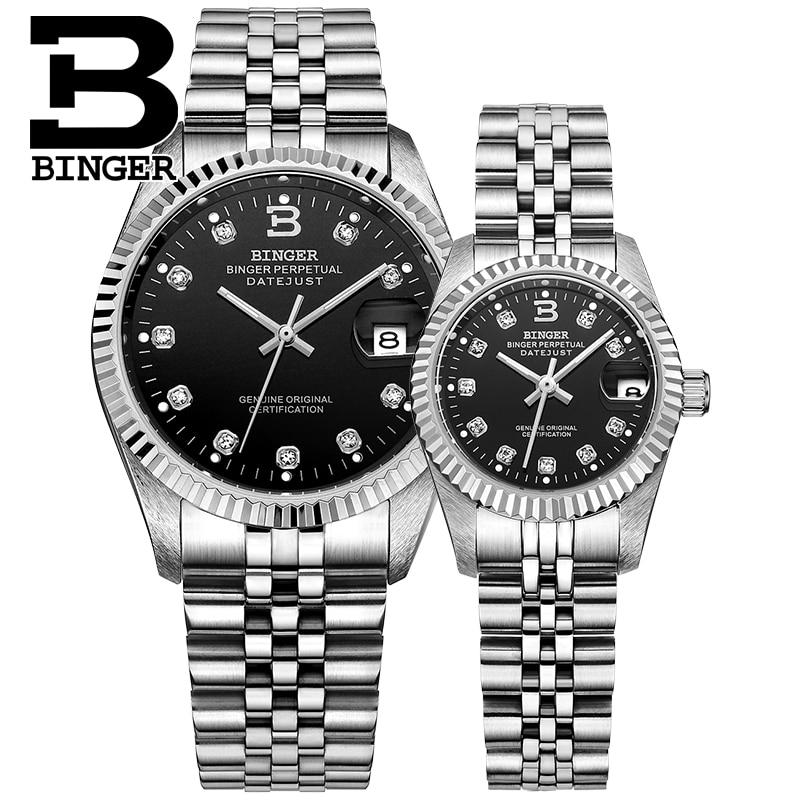 Switzerland BINGER Watch Men Women Automatic Mechanical Mens Watches Luxury Brand Sapphire Reloj Hombre Lovers' Wristwatch 373-6