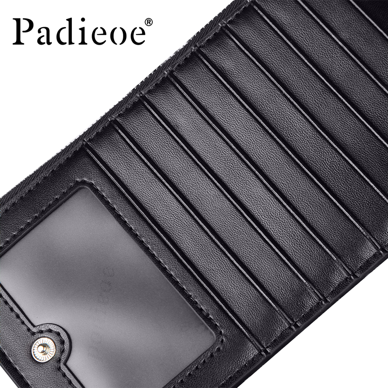 padieoe fashion luxury genuine leather men wallets business large capacity double zipper men credit card holder in card id holders from luggage bags on - Leather Credit Card Holder