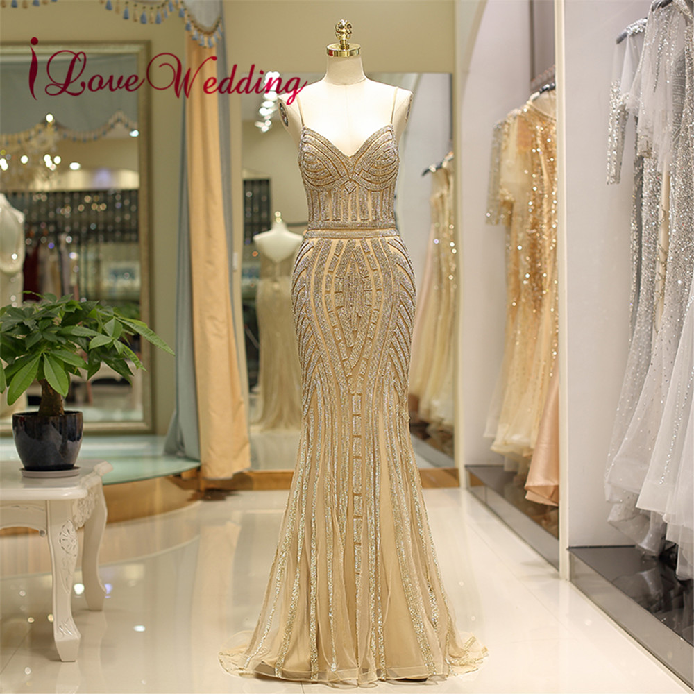 Black Sequin Formal Evening Dress 2018 V Neck Spaghetti Straps Trumpet Vestido  de festa longo Evening 89dd7f25edc6