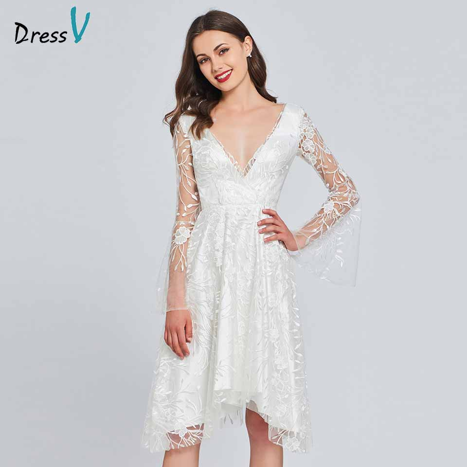Dressv Ivory Lace A Line Cocktail Dress V Neck Long Sleeves Wedding Party Evening Formal Dress Coctail Dresses Cutomade