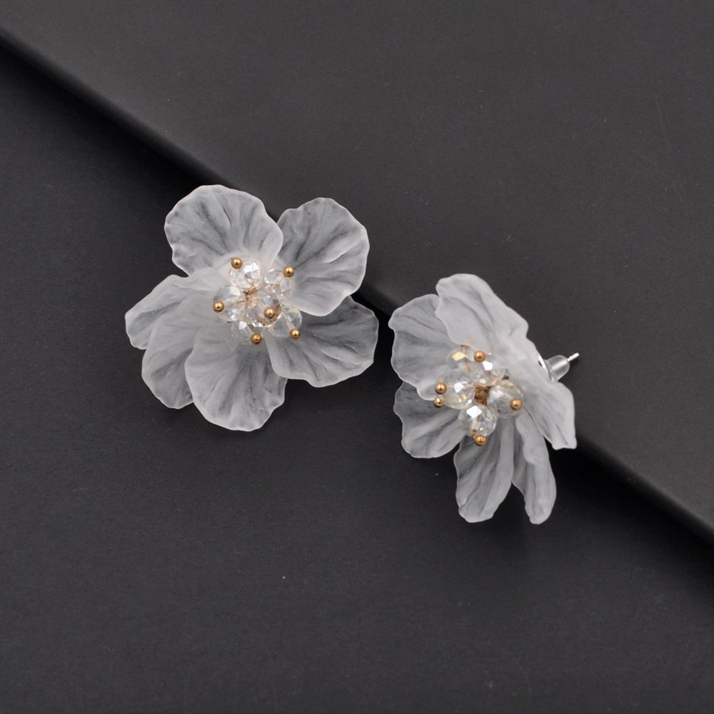 edges clip large flower image earrings silver