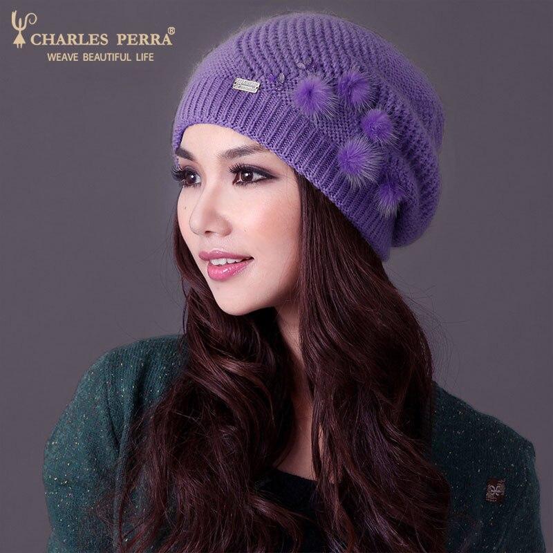 Charles Perra Mujer Sombreros Invierno Espesar Doble capa Sombrero de - Accesorios para la ropa - foto 5