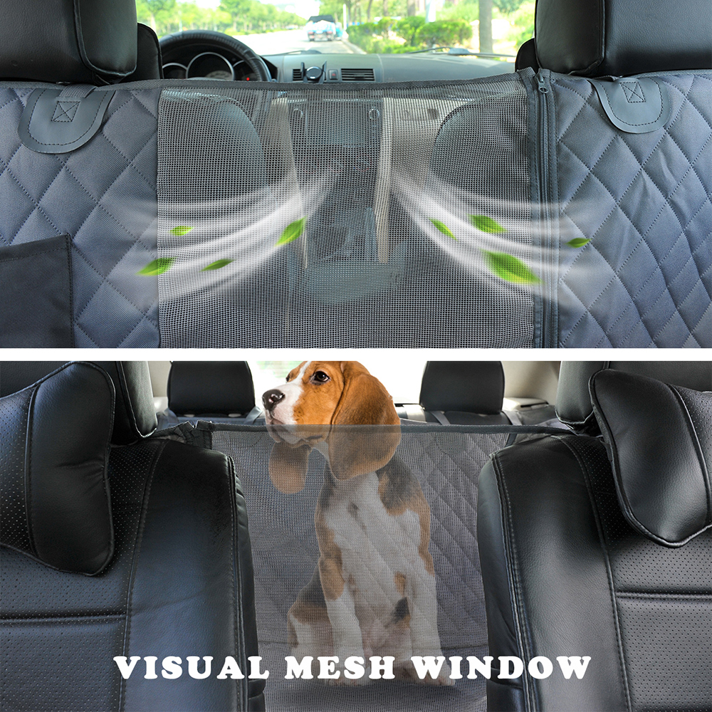 Dog Car Seat Cover View Mesh Waterproof Pet Carrier Car Rear Back Seat Mat Hammock Cushion Protector With Zipper And Pockets 3