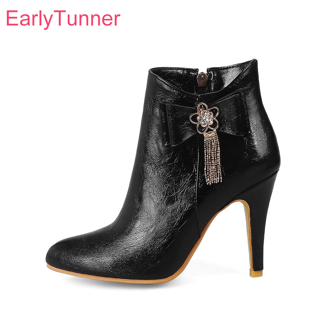 Brand New Sales Winter Soft Black Red Women Ankle Nude Boots White Lady Shoes Super High Heels EY25 Plus Big Size 10 32 44 48 brand new sexy women motorcycle boots black red beige white lady ankle riding shoes fashion nude heels ay902 plus big size 43 48