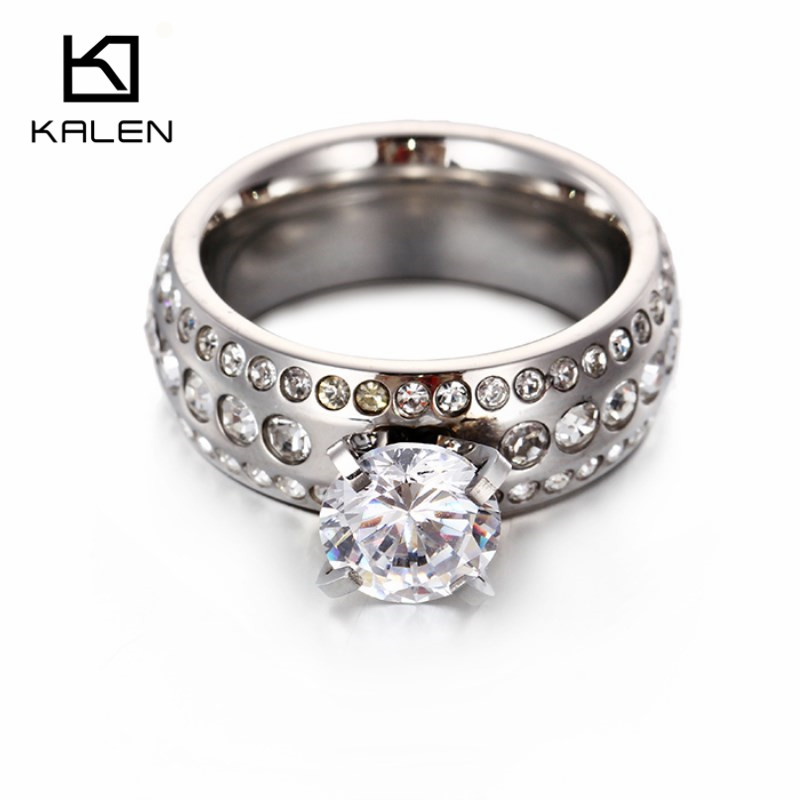 kalen new silver color rings stainless steel zircon glass women rings cheap fake engagement wedding rings fashion accessories - Fake Wedding Ring