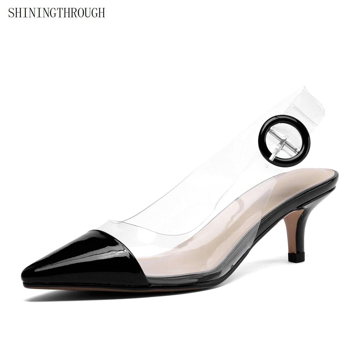 Parti Discothèque Véritable Haute Noir Cm En Transparent Talons De 5 Cuir Chaussures Point Pvc Pompes Femmes blanc Orteils Pompe 8fZqIf7
