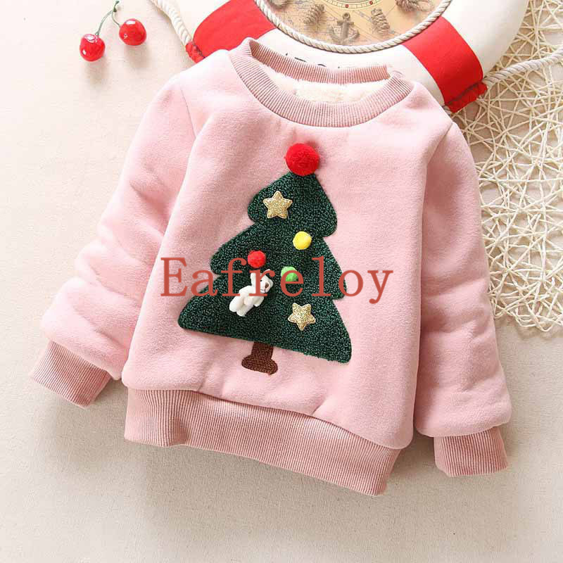 Baby Girls Sweatshirt Children Plus Cashmere Sweater Autumn&Winter Casual Christmas Tree Hoodies Kids Boys Sweatshirts Hoodies
