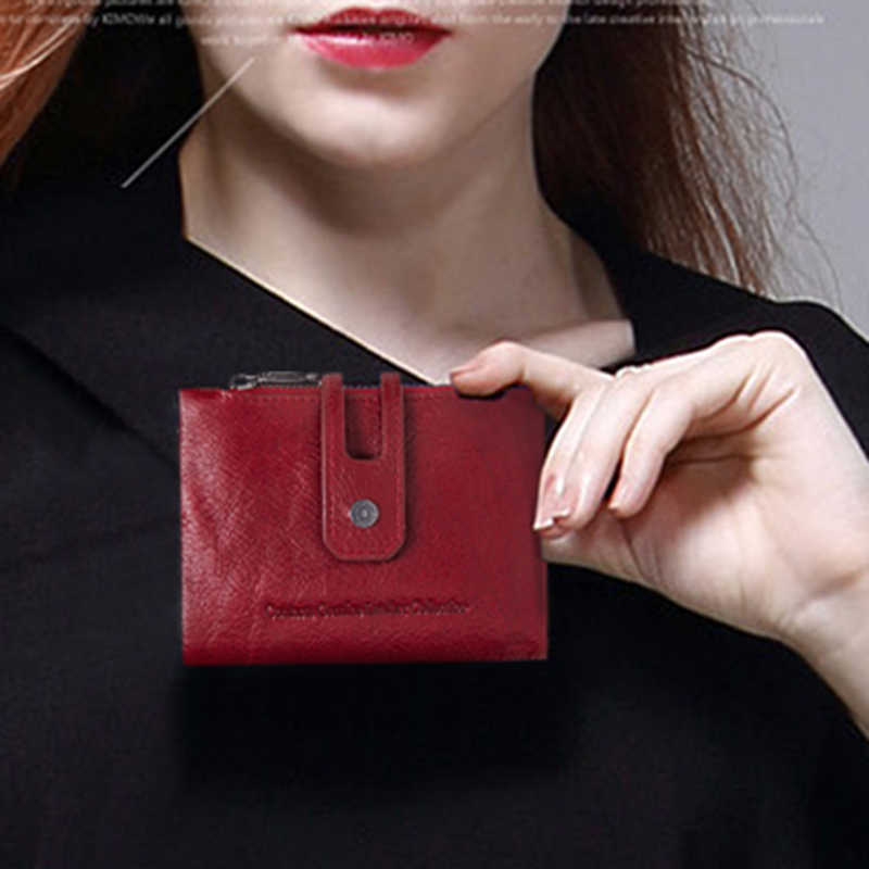Brand Design Wallet Genuine Cow Leather Japan Style Solid Zipper & Hasp Standard Wallets Short Bags With Coin Pocket Card Holder
