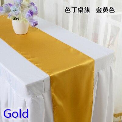 זהב צבע שולחן ראנר סאטן מבריק צבע שולחן קישוט חתונה מלון מסיבת מופע שולחן רץ זול