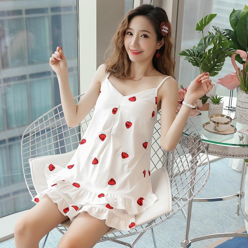 Sexy Lingerie Spaghetti Strap   Pajama     Sets   for Women Summer 100% Cotton Print Shorts Sleepwear Pyjama Girls Homewear Pijama Mujer