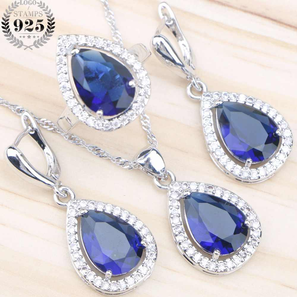 Blue Zirconia Silver 925 Bridal Jewelry Sets For Women Wedding Jewelry Stone Earrings Ring Pendant Necklace Set Gift Box