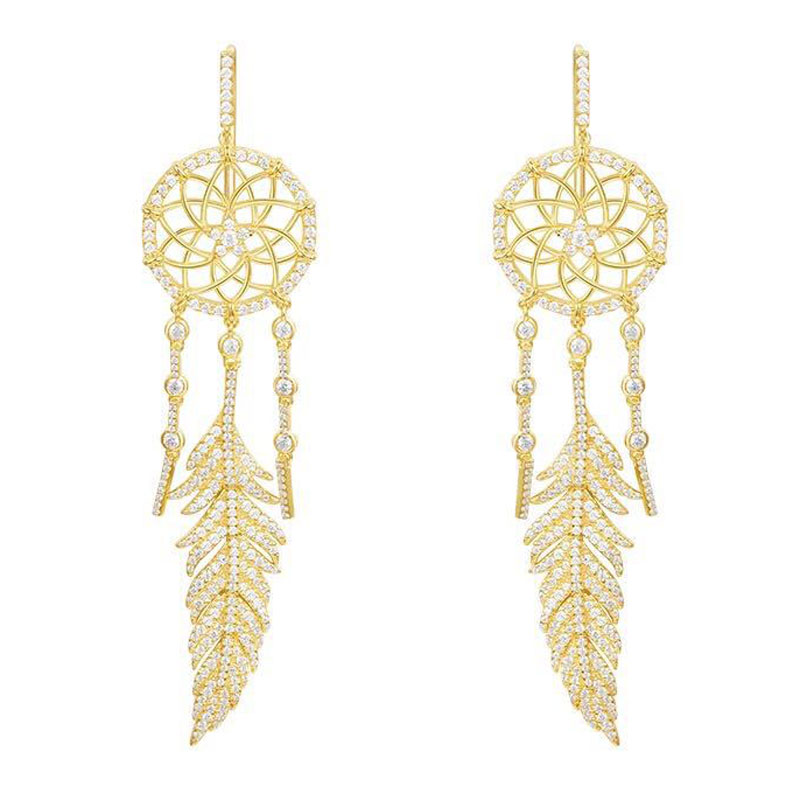 SLJELY Hot Luxury S925 Sterling Silver Yellow Gold Color Dream Catcher Drop Earrings Women Feather Full