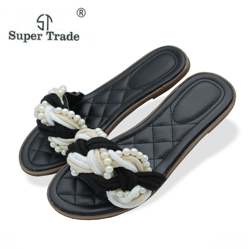 Free Shipping New 2018 Korean Version Of The Small New Women'S Slippers Black Pearl Twist Weave Open Toe Flat Sandals 779 2016 new free shipping neo snk arcade mvs magic key 2016 version