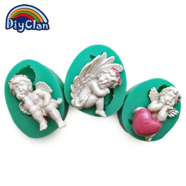 3 di stile FAI DA TE torta del fondente del silicone Cupido Piccolo Angelo stamp
